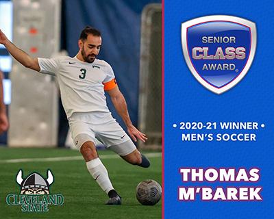 Cleveland State's Thomas M'Barek Wins 2020-21 Senior CLASS Award® for Men's Soccer