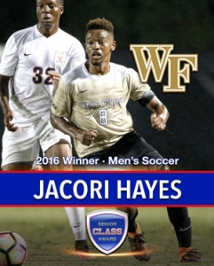Wake Forest's Jacori Hayes Wins the 2016 Senior CLASS Award® for Men's Soccer