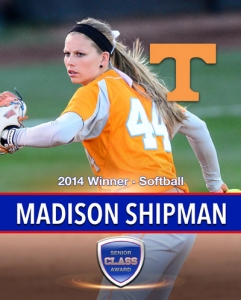 Tennessee's Madison Shipman wins the 2014 Senior CLASS Award® in softball
