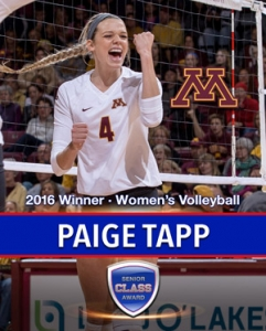 Minnesota's Paige Tapp wins the 2016 Senior CLASS Award® for Women's Volleyball