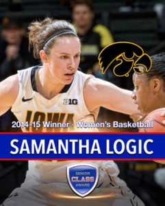 Iowa's Samantha Logic wins 2015 Senior CLASS Award in women's basketball